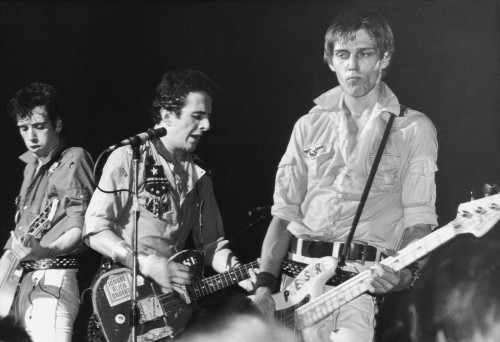 From left to right, Mick Jones, Joe Strummer and Paul Simonon of punk rock band The Clash, circa 1980. (Photo by Hulton Archive/Getty Images)